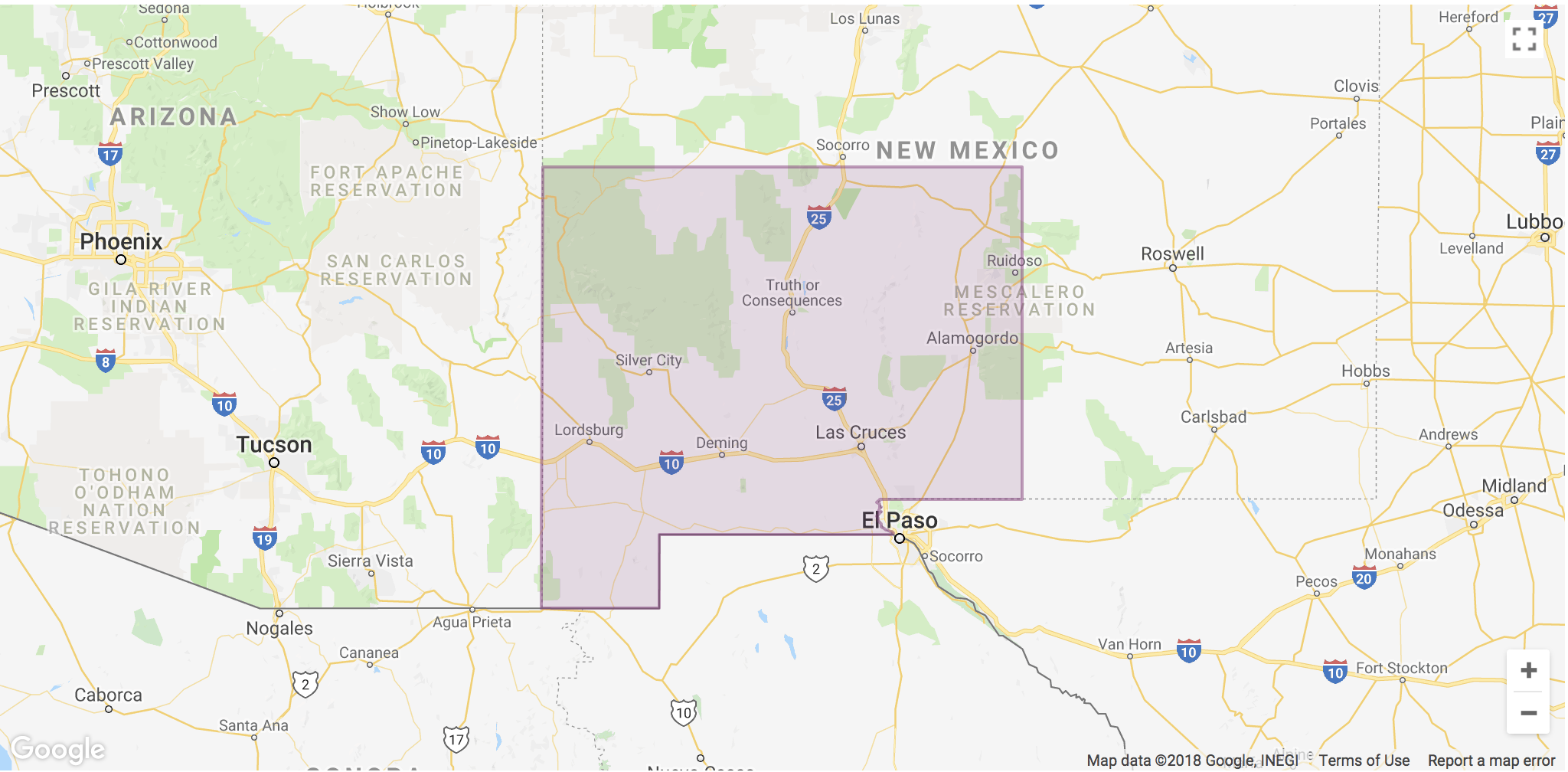 Lyft Las Cruces Area Coverage map