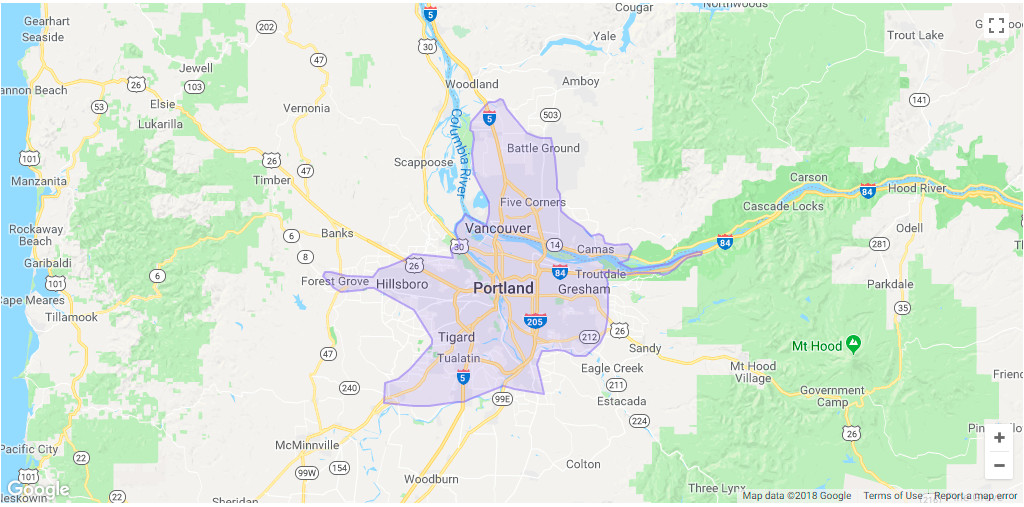 Lyft Portland Area Coverage map