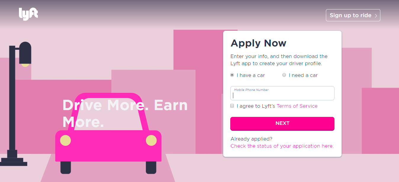 Lyft Driver Sign-up Step 1